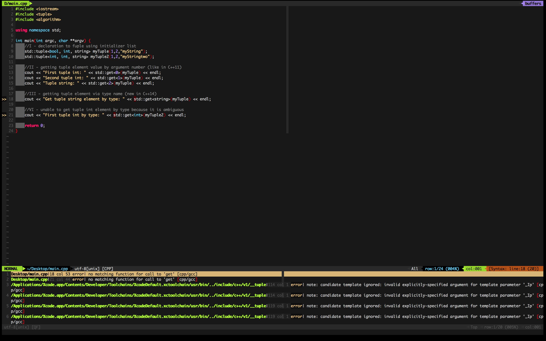 Screenshot - syntastic 1 - c++14 support