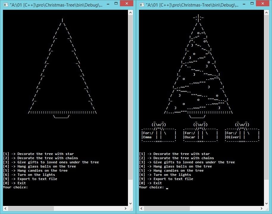 Украшенная елка из символов ASCII