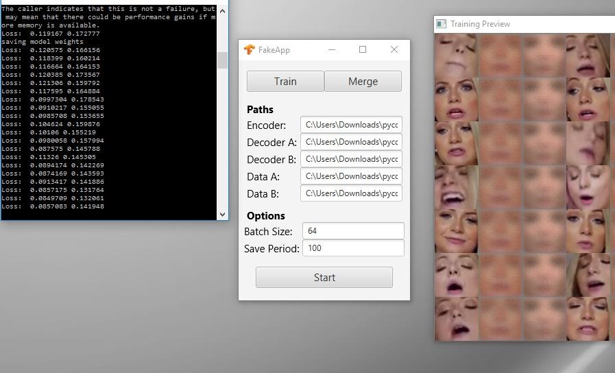 Интерфейс первой версии приложения FakeApp