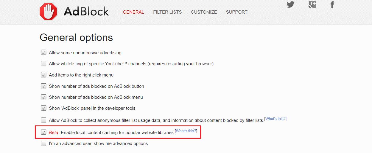 """опция """"разрешить кэширование популярных библиотек веб-сайтов"""""""