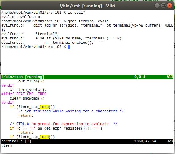Запуск shell в терминале Vim 8.1