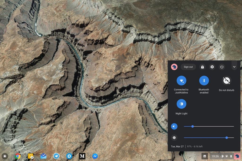 Панель настроек Chrome OS