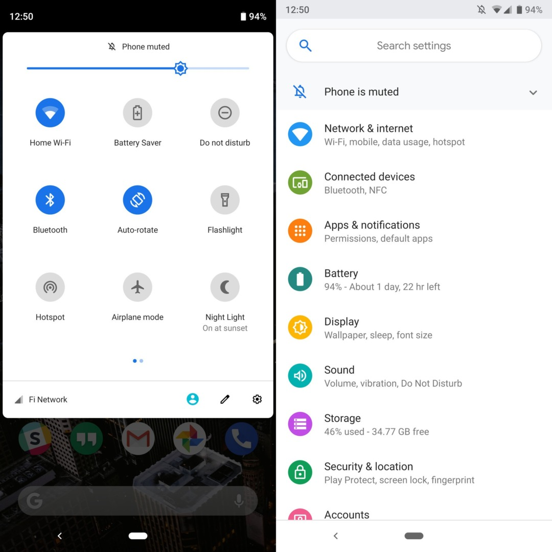 Системные иконки в Android P Beta 3