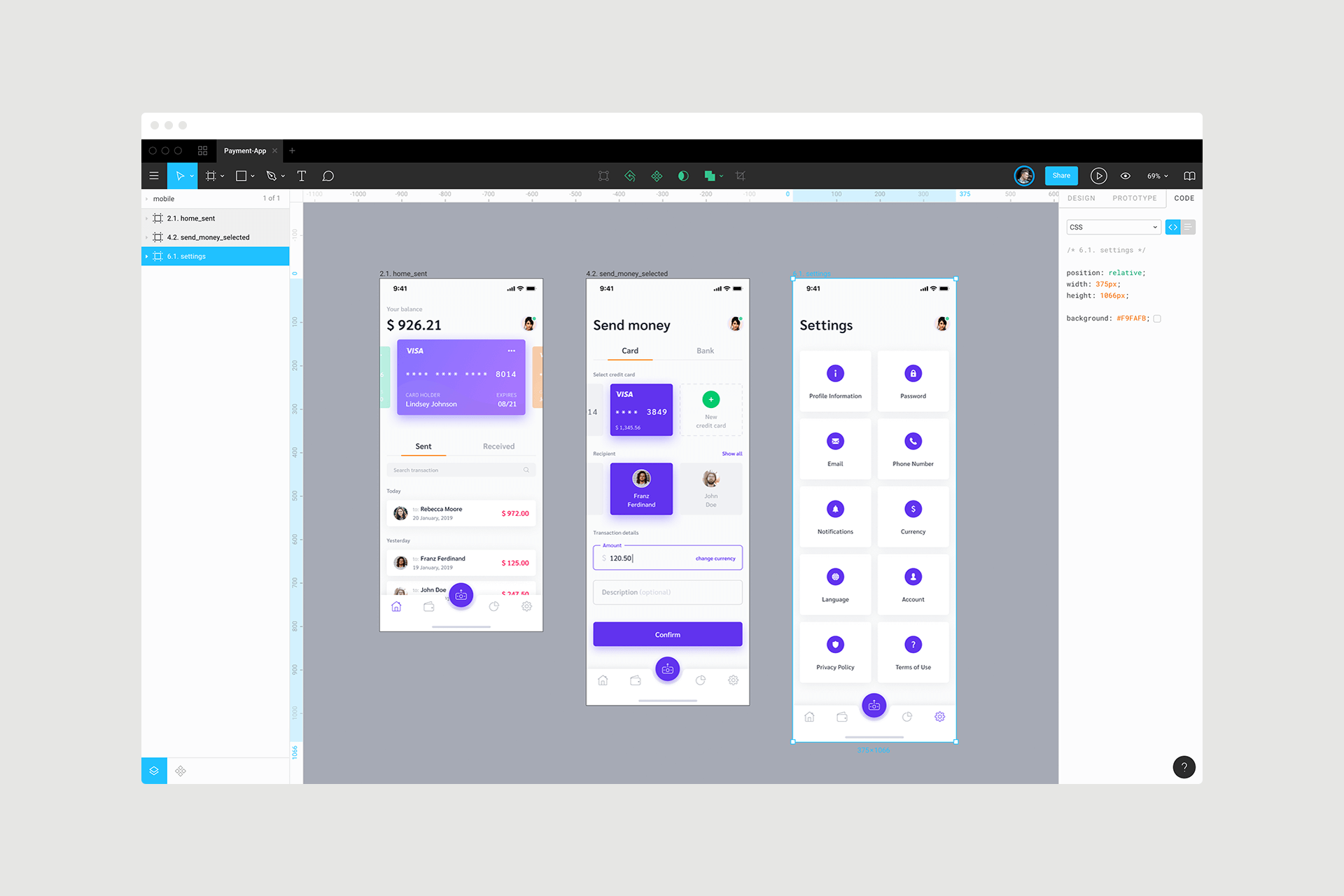 UI designs in Figma