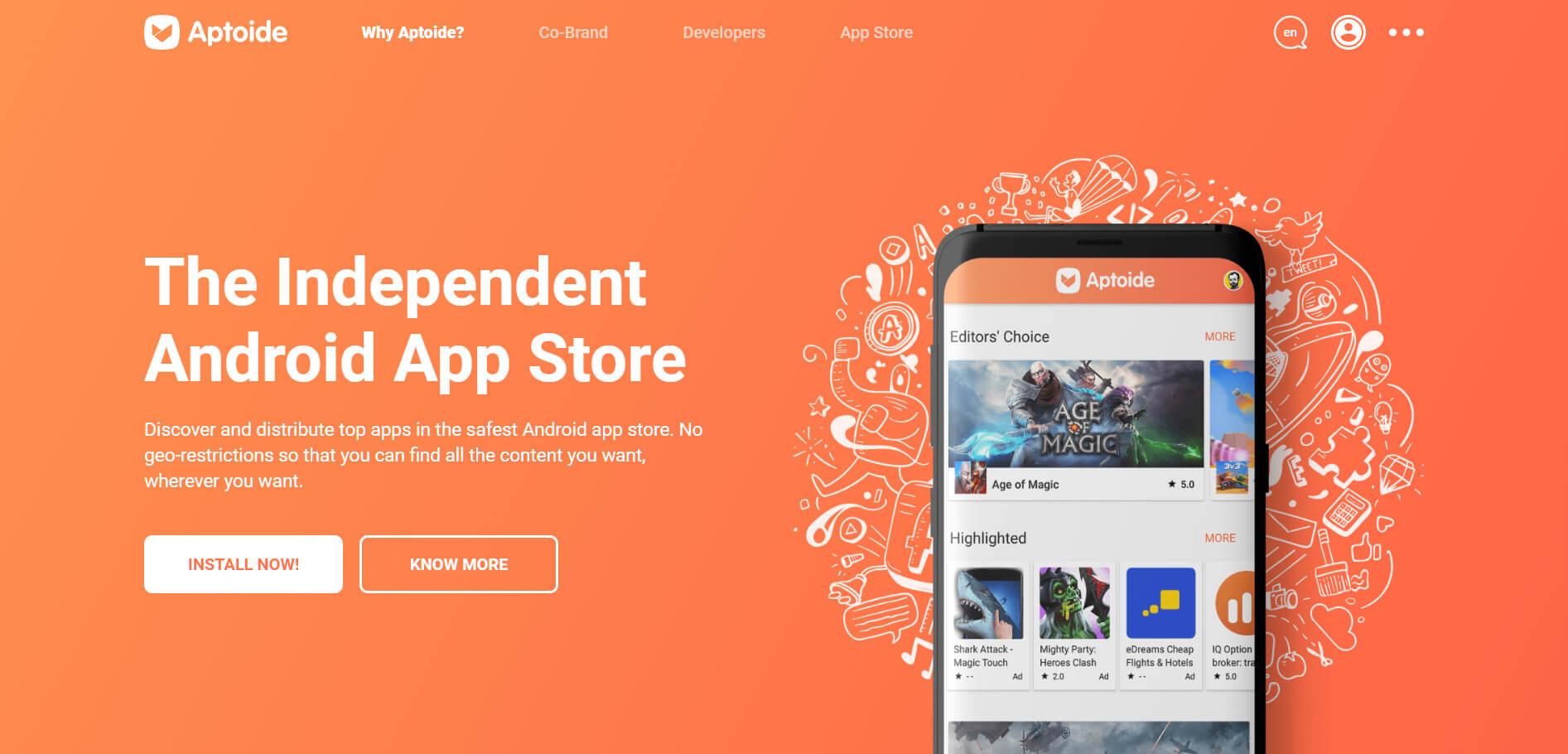 Замена Google Play Store - Aptoide