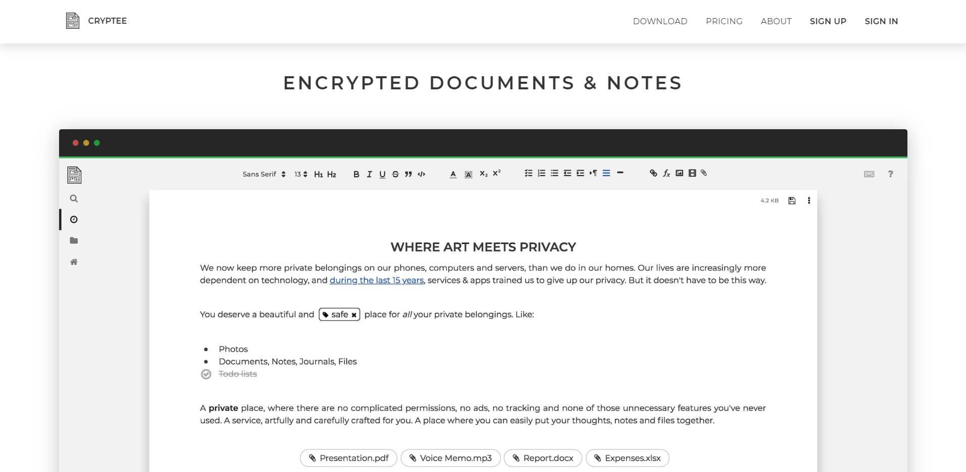 Замена Google Документы - Cryptee