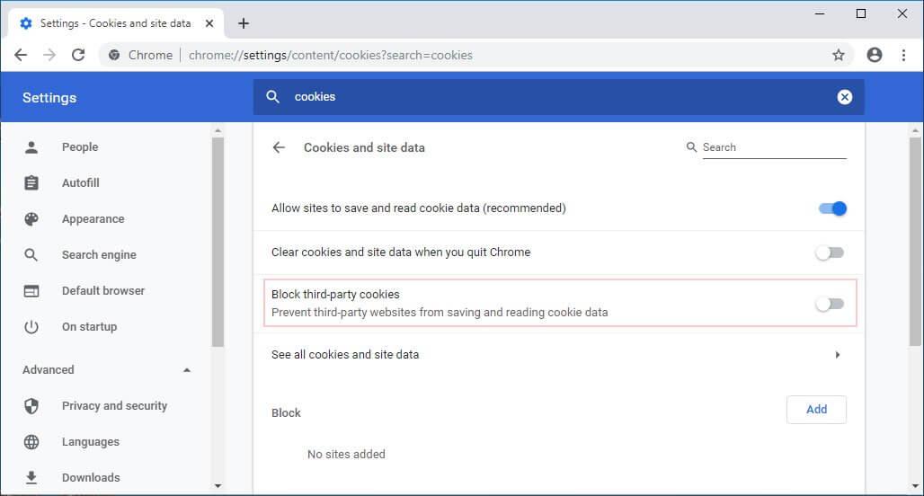блокировка cookies в Google Canary