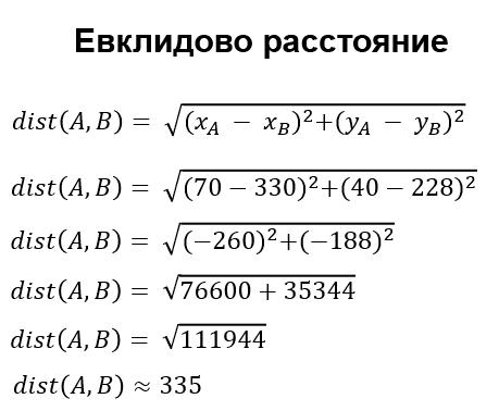 Пример расчёта Евклидового расстояния