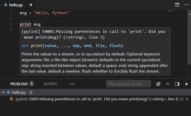 Python Linter по умолчанию в VS Code